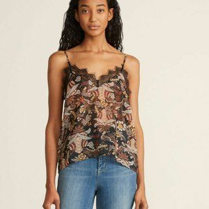 Allison Floral Lace Sheer Dark Cami XS Tank Top